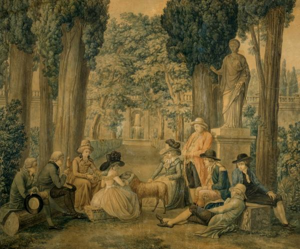 Johann Georg Schuz, Duchess Anna Amalia von Sachsen-Weimar and her friends in the Villa Deste in Tivoli, Rome